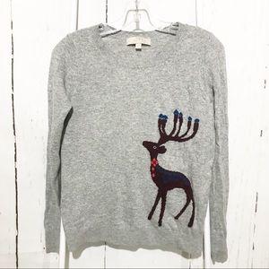 LOFT Gray Crewneck Long Sleeve Deer Sweater XS